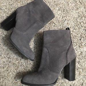 Nine West Grey Leather Heeled Booties - Size 6